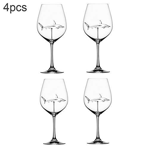 MSZQ - Copas de vino tinto con interior de tiburón de cristal transparente sin plomo para el hogar, bar o fiesta, vidrio cristal, 4 piezas