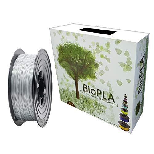 Bio PLA Filament 1,75mm 1kg Spule Full Biologic PLA Filament 1000g für alle 3D Drucker (Aluminium Weiss Metallc)