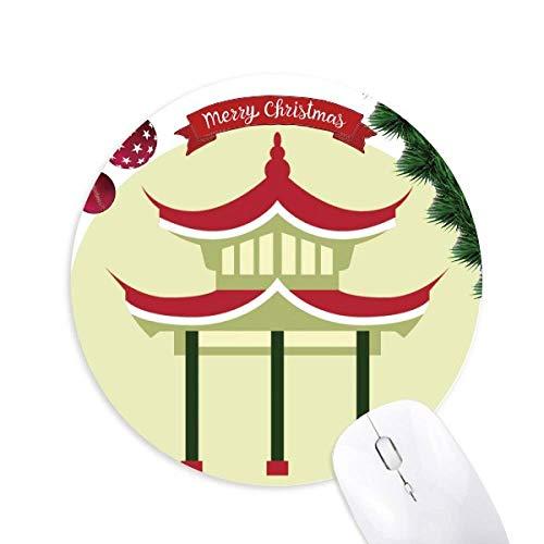 Pavillon China Muster rund um Gummi Maus Pad Weihnachtsbaum Mat