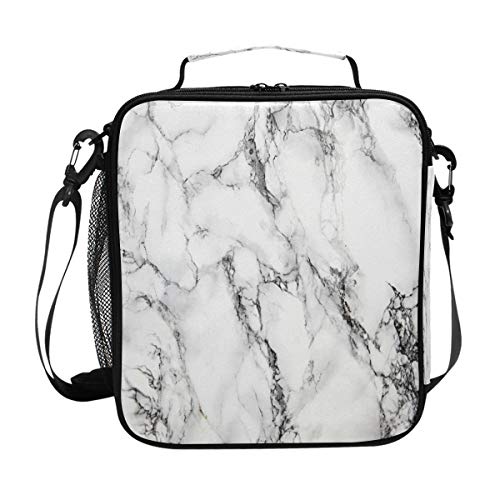 ZOEO Marble Lunch Box for Women White Marble Stone Teens Girls Cooler Insulated Lunch Bag Tote Freezable Shoulder Strap Waterproof Picnic Meal for School Office