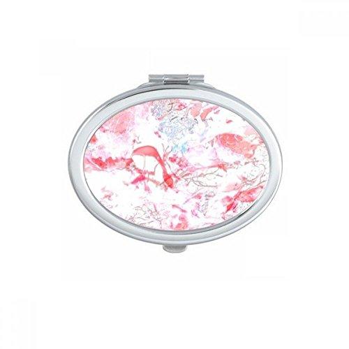 DIYthinker Rose Marbre Blanc Littérature Moderne Illustration fraîche Motif Ovale Maquillage Compact Miroir de Poche Portable Mignon Petit Miroirs Main Cadeau
