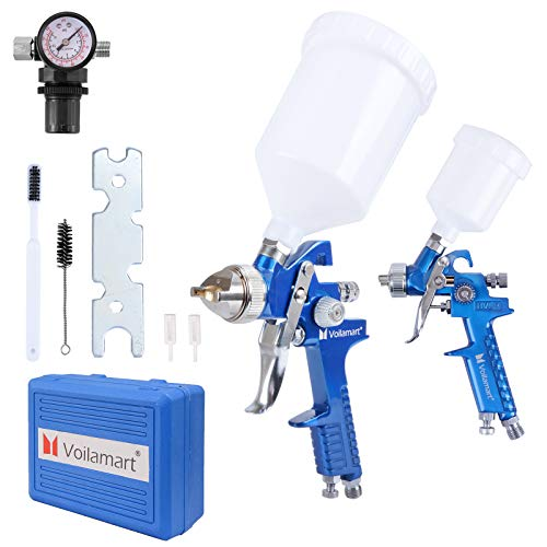 Voilamart 2PCS HVLP Gravity Feed Spray Gun Set with 600CC 125CC Cup Paint...