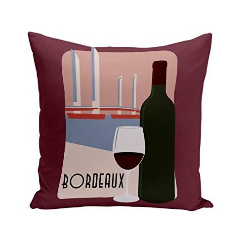 Fabulous Coussin 40x40 cm Bordeaux Vin France Ville Alcool Tourisme