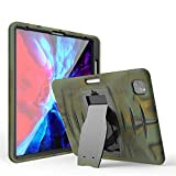 Jennyfly iPad Pro 12.9 Case 2020 & 2018, Shockproof Hard Rugged Durable 3-Layer Protective Kid Case with Kickstand/Pen Holder/Support Viewing&Typing Angle for 2018/2020 iPad 12.9 inch- Camouflage