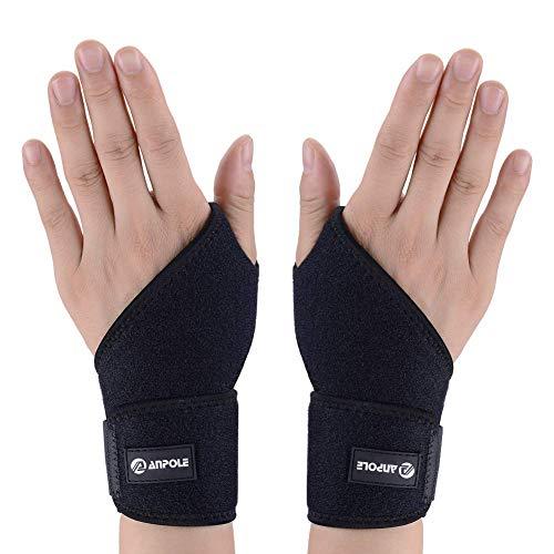Anpole Handgelenkstütze, Einstellbar Handgelenkbandage mit Klettverschluss, Daumenbandage, Atmungsaktivem, für Fitnessstudio, Fitness, Heben und vieles mehr, für Männer und Frauen(Schwarz)
