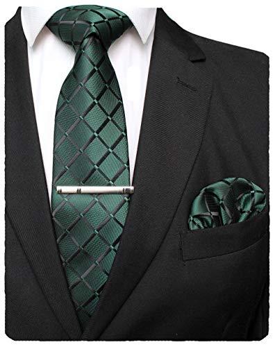 JEMYGINS Grün Seide Plaid Krawatte und Einstecktuch mit krawattenklammer Set für Herren Seidenkrawatten Hochzeit Schlips (6)