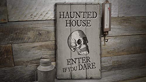 St234tyet Panneau en bois avec inscription « Enter If You Dare »