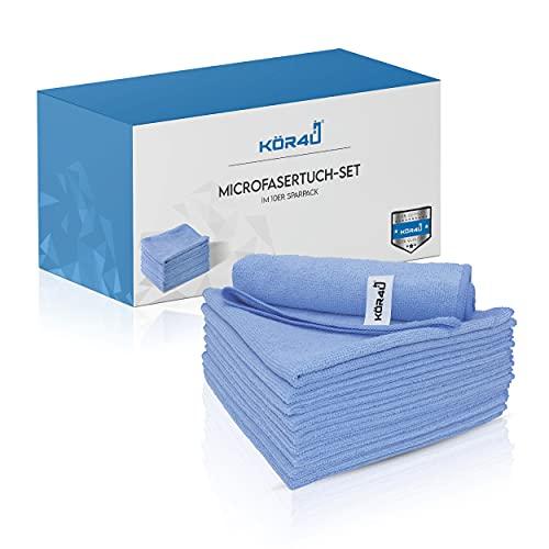 kör4u® Mikrofasertücher I 10x waschbare Allzwecktücher im Sparpack I geeignet zum Polieren, Putzen und Pflegen – nass oder trocken I Reinigungstücher in der Größe 40x40 cm I universell einsetzbar