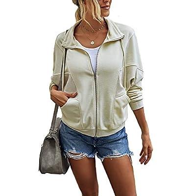 Women's Solid Color Full Zipper Hoodies Outerwear Casual Long Sleeve Soft Cozy Jacket Sweatshirt