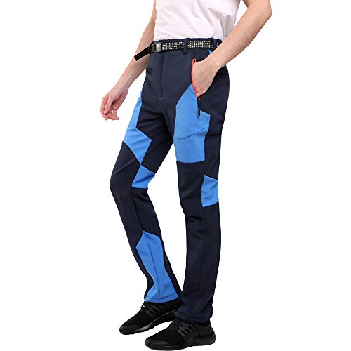 Sidiou Group Pantaloni da Trekking Uomo Pantaloni Softshell Pantaloni da Arrampicata Pantaloni da Escursionismo Pantaloni Impermeabili Esterni Pantaloni Antivento Foderati (Blu, L 34 (Vita 88-98cm))