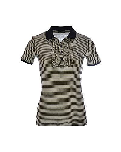 Fred Perry Polo de mujer a rayas con ruches Negro XL