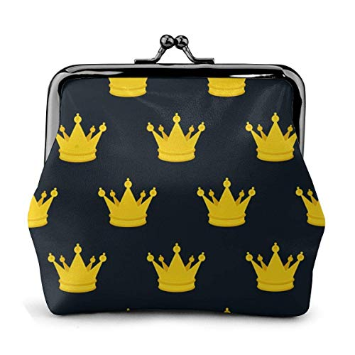 Gold Black Crown Pattern Classic Exquisite Kiss Lock Closure Buckle Coin Purse