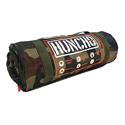 Woobie Poncho Liner (Woodland Camo) for Army, Military, Outdoors and Hunting. Zipper for Head Hole, Double Sided Snaps and Tie Cords for Poncho. Useful Gear as a Blanket, Pillow, Liner and Shelter