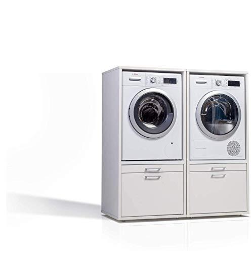 Waschmaschinenschrank - Der Waschturm - Doppelschrank - 146 x 134 x 65cm - TÜV zertifiziert - Stabil