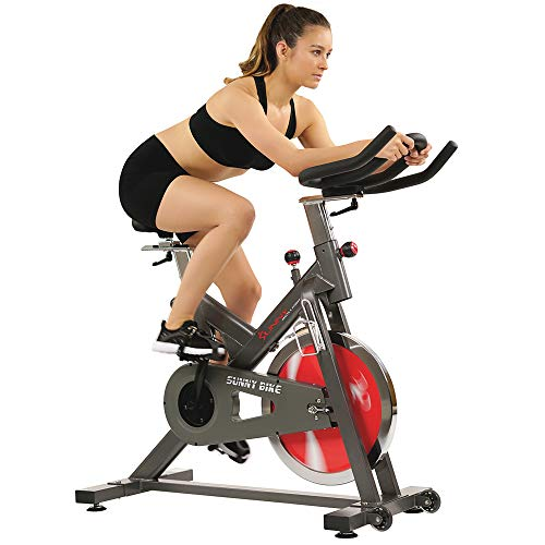 Sunny Health & Fitness Indoor Home Cycling Bike with Quiet Belt Drive, 44 LB Flywheel and 265 Max Weight - SF-B1712