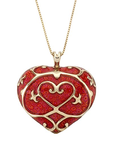 Gold Plated Sterling Silver Heart Necklace Fleur de Lis Pendant Handmade Red Polymer Clay Jewelry, 16.5