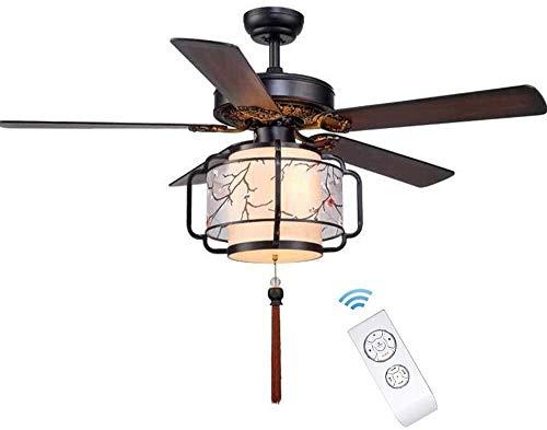 Home Equipment Ventiladores de techo clásicos con colgante Ventilador de techo con luz y control remoto Aspa de ventilador de madera de 42 'Lámpara de ventilador de metal con cambio de velocidad de