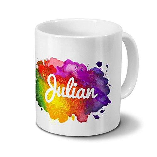 Tasse mit Namen Julian - Motiv Color Paint - Namenstasse, Kaffeebecher, Mug, Becher, Kaffeetasse - Farbe Weiß