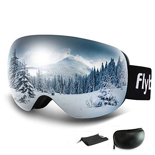 Flyboo Masque de Ski Lunettes de Snowboard Large Sphérique OTG sans Monture, Protection 100% UV 400, Anti-Buée Haute Visibilité, pour Hommes,Femmes et Jeunes