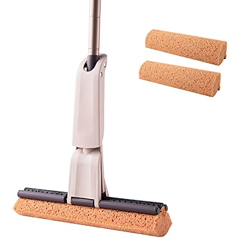Eyliden Sponge Mop for Floor Cleaning, With 2pcs Absorbent Sponge 12.8 inch Wide Heads Roller Mops, Hands Free Wash Mop for Kitchen Bathroom Office Hardwood Laminate Tile Marble Ceramic Floors (Brown)
