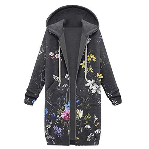 riou Damen Kapuzenjacke Lang Herbst Winter Übergangsjacke Hoodie Jacke mit Reißverschluss Sweatjacke