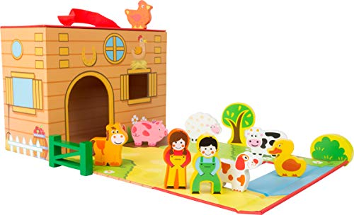 Small Foot Wooden Toys Farm Themed playworld in a Carrying case Designed for Children 3+