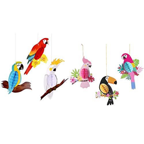 ROSELI Tropical Bird Hawaiian Parrot Honeycomb Hanging Decorations,Party Supplies,Hawaiian Birthday Decorations (6 Pieces)