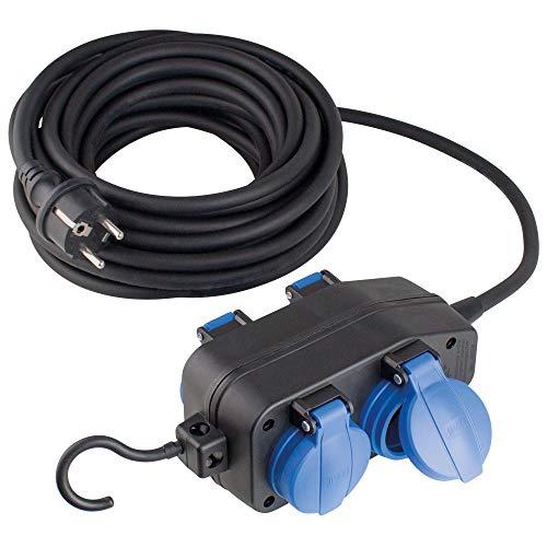 as - Schwabe 4-Fach Verteilersteckdose 230 V / 16 A – Stromverteiler mit 10 m Schwerer Gummischlauchleitung H07RN-F 3G1,5 – Ideal für den Outdoor-Bereich geeignet – IP44 – Schwarz I 60671