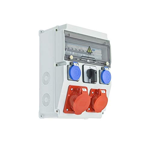Caja de obras trifásica equipada con ASTAT 260 Plus IP65 32A/5P, 16A/5P, 2x230V SCHUKO IP44, interruptor giratorio, disyuntores Hager