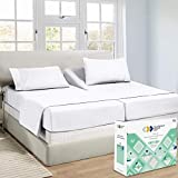 Hotel Split King Sheets Sets for Adjustable Bed, 100% Cotton 600 TC Sateen Thick, Soft & Crisp, 5pc Set with 2 Twin-XL Fitted Sheets, Deep Pocket (Pure White)