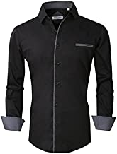 Alex Vando Mens Dress Shirts Long Sleeve Regular Fit Casual Men Shirt,Black,XLarge