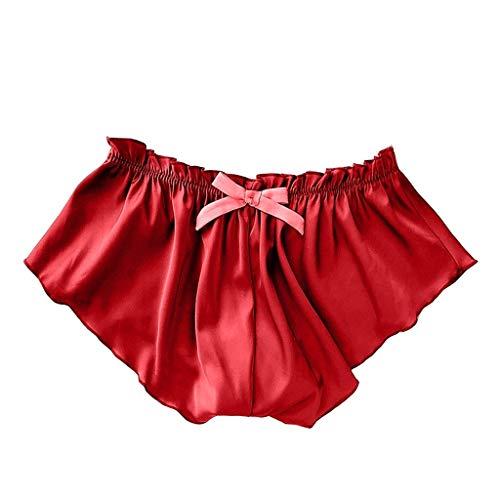 LSBXWL Seide und Satin Shorts Schlaf Bottoms for Frauen-Mädchen-Blumen-Blumenspitze Pyjamas Plus Größen-Sommer weiche Bequeme Kurze Hosen Höschen Shorts (Color : Red, Size : M)