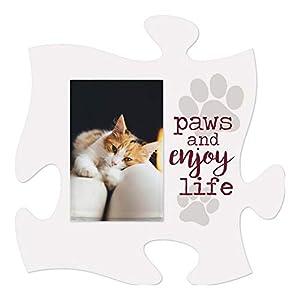 P. Graham Dunn Paws and Enjoy Life White 6 x 6 Wood Mini Puzzle Piece Wall Photo Frame