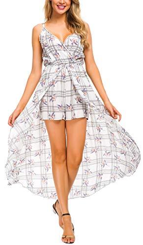 Kormei Womens Sleeveless V Neck Floral Rayon Party Split Maxi Romper Dress XL White-V Neck