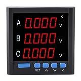 Aufee Dreiphasen-Voltmeter, Dreiphasen-Voltmeter Amperemeter Digitalanzeige Strommesser Voltmeter Spannungsmesser Meter Elektrovoltmeter -