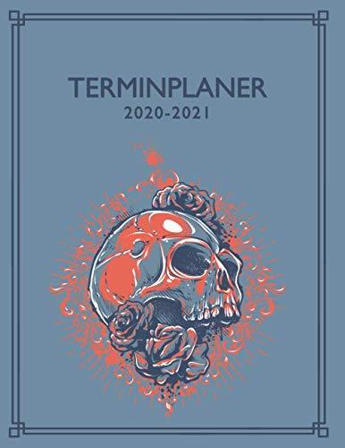 Terminplaner 2020-2021: Tattoo Terminbuch | 12 Monate DATEN Kalender | Tages- & Stundenplaner | 8AM - 8PM | Inklusive Alphabetisches Kundenbuch | Blue Skull Design