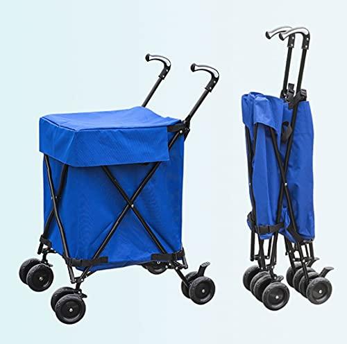 Utility Carts, zusammenklappbarer Einkaufswagen, wasserbeständige Hochleistungs-Leinwand mit Deckel, doppelt vordere Schwenkräder, hintere Bremsen, einfaches Falten,...