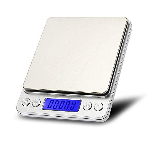 3000g x 0.01g Escala de gramo de bolsillo de precisión digital Joyería de plataforma de acero inoxidable no magnética Balanza electrónica de peso 2 kg 0,1 g con bandeja