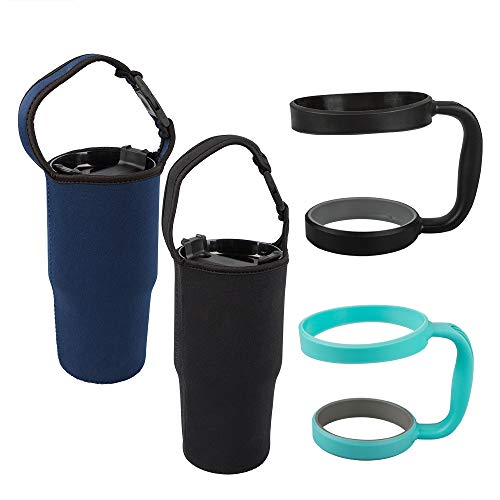 Juego de 4 vasos, bolsa y soporte para todas las tazas de café aisladas de viaje de 30 onzas, paquete de 2, negro y azul marino, bolsa con asa y 2 soportes verdes y negros