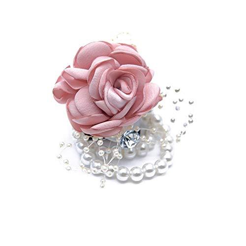 Pulsera de dama de honor para novia, ramo de flores de rosa, muñeca de boda, muñeca, flor, cadena de abalorios, muy práctico y popular