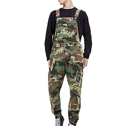 Fansu Herren Jeans Latzhose Overall, Arbeitshosen Lange Jeanshose Retro Denim Arbeitslatzhose Jumpsuit Destroyed Ripped Multifunktion Hose Arbeitskleidung (XL,Tarnen)