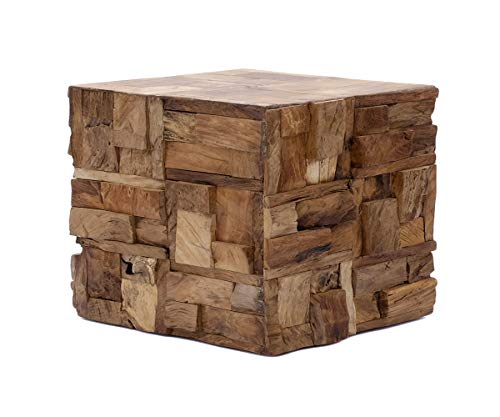 Brillibrum Design bijzettafel van echt hout stukken salontafel drijfhout vierkant houten blok kruk uniek nachtkastje bloemenkruk 45 cm robuust 40x 55 x 55 cm (H x B x T)