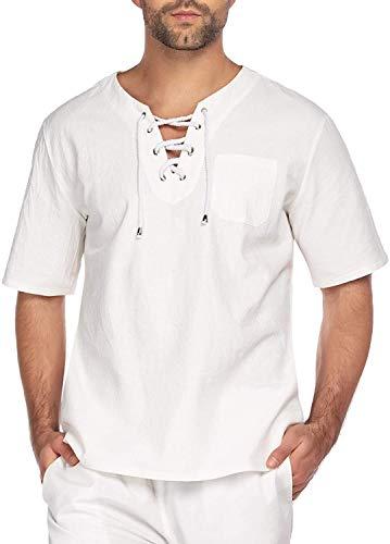 COOFANDY Herren Leinenhemd Yoga Shirt Leinen T Shirts Männer Vintage Fischerhemden Sommer Freizeithemd Leichte Bequem Atmungsaktives