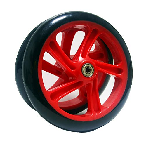 Z-FIRST 2PCS 200mm Adult Scooter Wheels with ABEC 9 Bearings for Razor and Adult Kick Scooters (Red)