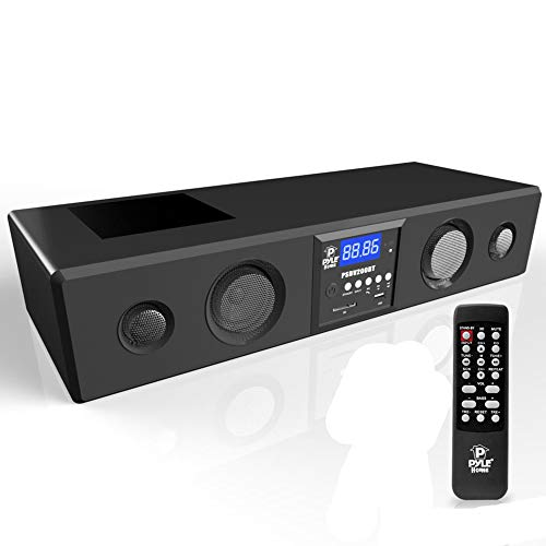 Pyle 3D Surround Bluetooth Soundbar - Sound System Bass Speakers Compatible to TV, USB, SD, FM Radio with 3.5mm AUX Input , Remote Control, For Home Theater, TV, - PSBV200BT,Black