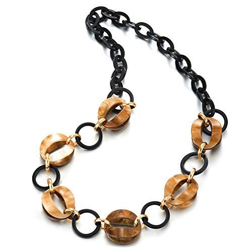 COOLSTEELANDBEYOND Mode Hipster Gold Acryl Gefärbte Schale Charme Schwarz Kreis Kette Statement Halsband Große Anhänger Halskette