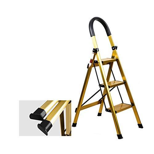 HYDT Escaleras de Mano Escalera Plegable de 4 escalones, Taburete portátil de aleación de Aluminio para el hogar y la Oficina y la Cocina, con Pedal Ancho Antideslizante - Dorado
