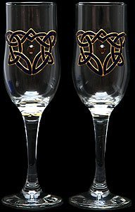Celtic Glass Designs Set of 2 Hand Painted Champagne Flutes in a Celtic Heart Design.