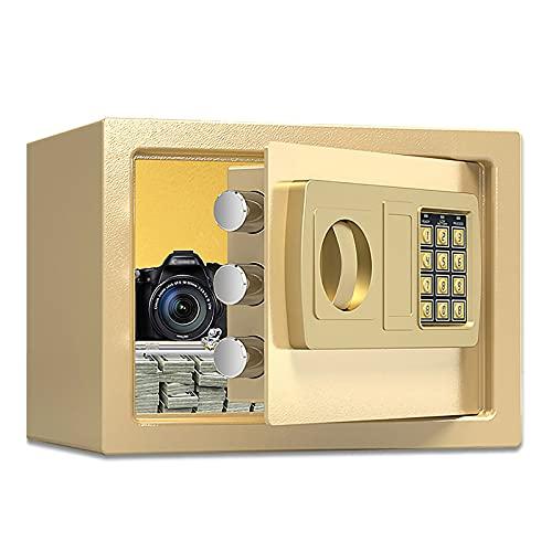 VIY Caja Fuerte de Seguridad electrónica con Teclado y Cerradura para Llave, Tornillos de Anclaje,Oro