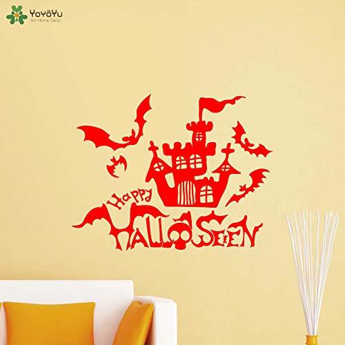 yaoxingfu Feliz Halloween Tatuajes de Pared Murciélagos Castillo Patrón Decoración para el hogar Terror Temático Vinilo Pegatinas de Pared Regalos Window Art Mu WW-3 71x57cm